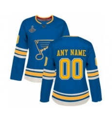 Women's St. Louis Blues Customized Authentic Navy Blue Alternate 2019 Stanley Cup Champions Hockey Jersey