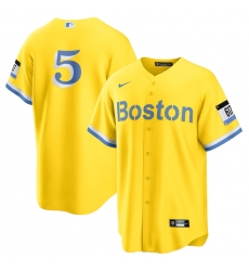 Men's Boston Red Sox #5 Enrique Hernandez Nike Gold-Light Blue 2021 City Connect Replica Player Jersey