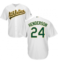 Men s Majestic Oakland Athletics  24 Rickey Henderson Replica White Home  Cool Base MLB Jersey b96775025