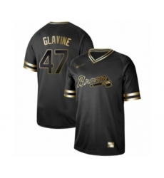Men's Atlanta Braves #47 Tom Glavine Authentic Black Gold Fashion Baseball Jersey