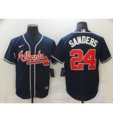 Men's Atlanta Braves #24 Deion Sanders Navy Blue Nike MLB Jersey