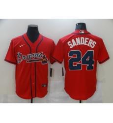 Men's Atlanta Braves #24 Deion Sanders Red Nike MLB Jersey