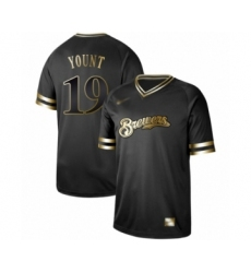 Men's Milwaukee Brewers #19 Robin Yount Authentic Black Gold Fashion Baseball Jersey