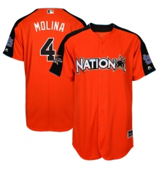 Youth Majestic St. Louis Cardinals #4 Yadier Molina Authentic Orange National League 2017 MLB All-Star MLB Jersey