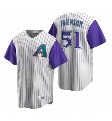 Men's Nike Arizona Diamondbacks #51 Randy Johnson Cream Purple Cooperstown Collection Alternate Stitched Baseball Jersey