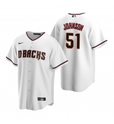 Men's Nike Arizona Diamondbacks #51 Randy Johnson White Home Stitched Baseball Jersey