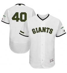 Men's Majestic San Francisco Giants #40 Madison Bumgarner White Memorial Day Authentic Collection Flex Base MLB Jersey