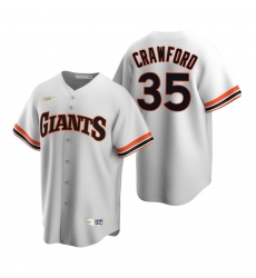 Men's Nike San Francisco Giants #35 Brandon Crawford White Cooperstown Collection Home Stitched Baseball Jersey