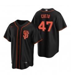 Men's Nike San Francisco Giants #47 Johnny Cueto Black Alternate Stitched Baseball Jersey