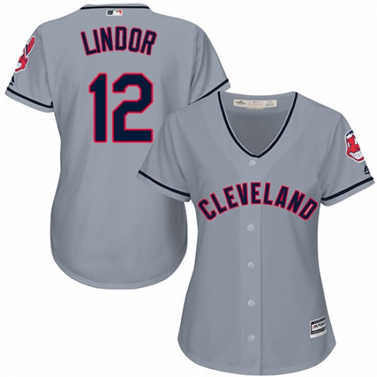 Women s Majestic Cleveland Indians  12 Francisco Lindor Authentic Grey Road  Cool Base MLB Jersey 11233aa96