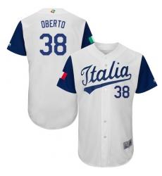 Men's Italy Baseball Majestic #38 Orlando Oberto White 2017 World Baseball Classic Authentic Team Jersey