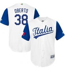 Men's Italy Baseball Majestic #38 Orlando Oberto White 2017 World Baseball Classic Replica Team Jersey