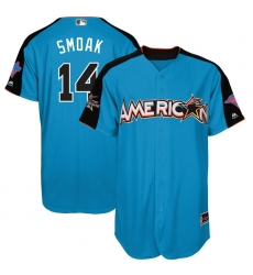 Men's Majestic Toronto Blue Jays #14 Justin Smoak Replica Blue American League 2017 MLB All-Star MLB Jersey