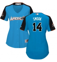 Women's Majestic Toronto Blue Jays #14 Justin Smoak Replica Blue American League 2017 MLB All-Star MLB Jersey