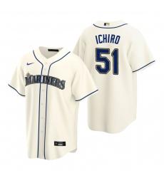 Men's Nike Seattle Mariners #51 Ichiro Suzuki Cream Alternate Stitched Baseball Jersey