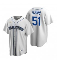 Men's Nike Seattle Mariners #51 Ichiro Suzuki White Cooperstown Collection Home Stitched Baseball Jersey