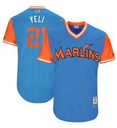 Men's Majestic Miami Marlins #21 Christian Yelich