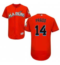 Men's Majestic Miami Marlins #14 Martin Prado Orange Flexbase Authentic Collection MLB Jersey