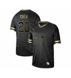 Men's Miami Marlins #20 Wei-Yin Chen Authentic Black Gold Fashion Baseball Jersey