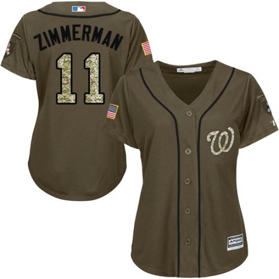 Women s Majestic Washington Nationals  11 Ryan Zimmerman Replica Green  Salute to Service MLB Jersey 1f0dfcfc4e