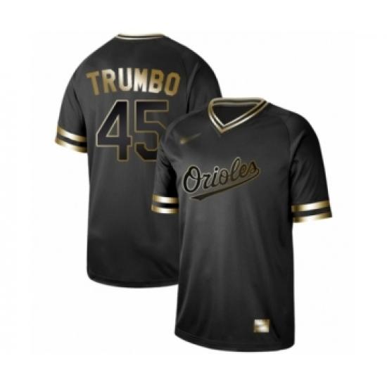 Men's Baltimore Orioles #45 Mark Trumbo Authentic Black Gold Fashion Baseball Jersey
