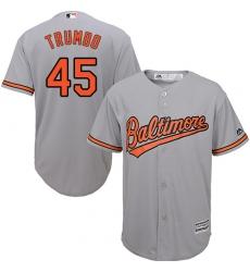 Men's Majestic Baltimore Orioles #45 Mark Trumbo Replica Grey Road Cool Base MLB Jersey