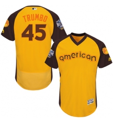 Men's Majestic Baltimore Orioles #45 Mark Trumbo Yellow 2016 All-Star American League BP Authentic Collection Flex Base MLB Jersey