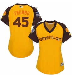 Women's Majestic Baltimore Orioles #45 Mark Trumbo Authentic Yellow 2016 All-Star American League BP Cool Base MLB Jersey
