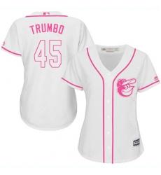 Women's Majestic Baltimore Orioles #45 Mark Trumbo Replica White Fashion Cool Base MLB Jersey
