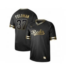 Men's Cincinnati Reds #37 Scott Feldman Authentic Black Gold Fashion Baseball Jersey