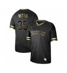 Men's Colorado Rockies #35 Chad Bettis Authentic Black Gold Fashion Baseball Jersey