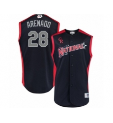 Youth Colorado Rockies #28 Nolan Arenado Authentic Navy Blue National League 2019 Baseball All-Star Jersey
