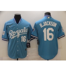 Men's Nike Kansas City Royals #16 Bo Jackson Light Blue Alternate Stitched Baseball Jersey