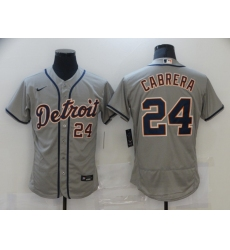 Men's Nike Detroit Tigers #24 Miguel Cabrera Gray Road Stitched Jersey
