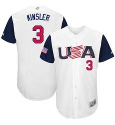 Men's USA Baseball Majestic #3 Ian Kinsler White 2017 World Baseball Classic Authentic Team Jersey