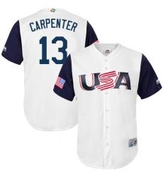 Youth USA Baseball Majestic #13 Matt Carpenter White 2017 World Baseball Classic Replica Team Jersey