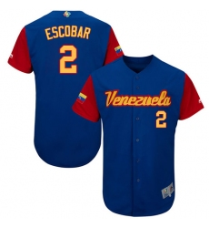 Men's Venezuela Baseball Majestic #2 Alcides Escobar Royal Blue 2017 World Baseball Classic Authentic Team Jersey