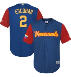 Men's Venezuela Baseball Majestic #2 Alcides Escobar Royal Blue 2017 World Baseball Classic Replica Team Jersey