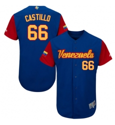 Men's Venezuela Baseball Majestic #66 Jose Castillo Royal Blue 2017 World Baseball Classic Authentic Team Jersey