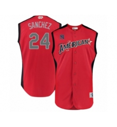 Men's New York Yankees #24 Gary Sanchez Authentic Red American League 2019 Baseball All-Star Jersey