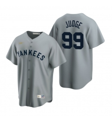 Men's Nike New York Yankees #99 Aaron Judge Gray Cooperstown Collection Road Stitched Baseball Jersey