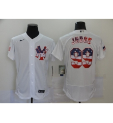 Men's Nike New York Yankees #99 Aaron Judge White 2020 Stars & Stripes 4th of July Jersey