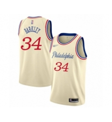 Men's Philadelphia 76ers #34 Charles Barkley Swingman Cream Basketball Jersey - 2019 20 City Edition
