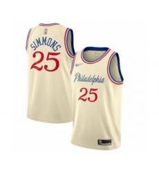 Men's Philadelphia 76ers #25 Ben Simmons Swingman Cream Basketball Jersey - 2019 20 City Edition