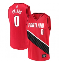 Men's Portland Trail Blazers #0 Damian Lillard Fanatics Branded Red 2020-21 Fast Break Replica Jersey