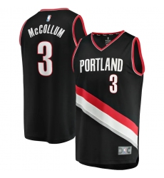 Men's Portland Trail Blazers #3 C.J. McCollum Fanatics Branded Black 2020-21 Fast Break Replica Jersey