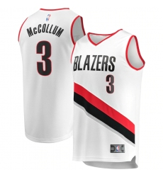 Men's Portland Trail Blazers #3 C.J. McCollum Fanatics Branded White 2020-21 Fast Break Replica Jersey