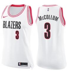 116ff5546 Women s Nike Portland Trail Blazers  3 C.J. McCollum Swingman White Pink  Fashion NBA Jersey