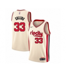Men's Portland Trail Blazers #33 Zach Collins Swingman Cream Basketball Jersey - 2019 20 City Edition