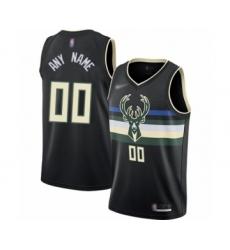 Youth Milwaukee Bucks Customized Swingman Black Finished Basketball Jersey - Statement Edition